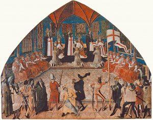 Papst Paul II. setzt 1469 in Anwesenheit von Friedrich III. den ersten Hochmeister des St.-Georgs-Ritterorden ein.