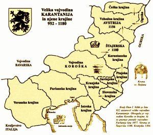 Leta 952 je kralj Oton I. ustanovil Veliko Karantanijo, veliko vojvodino z mejnimi grofijami in krajinami. Krajine so bile enote, ki so obdajale osrednjo vojvodino in so bile pod vojaško upravo. Nova tvorba je obsegala staro Karantanijo (brez Panonije, ki so jo zasedali Madžari), na zahodu pa sta ji bili dodani še Veronska in Furlanska krajina. Velika Vojvodina Karantanija je bila ustanovljena zato, da brani Sveto Rimsko cesarstvo pred Ogri in Bizantinci na vzhodu. Bojni poziv Velike Karantanije, ki je vključeval tudi vse njene krajine, je potekal pod znamenjem črnega panterja.